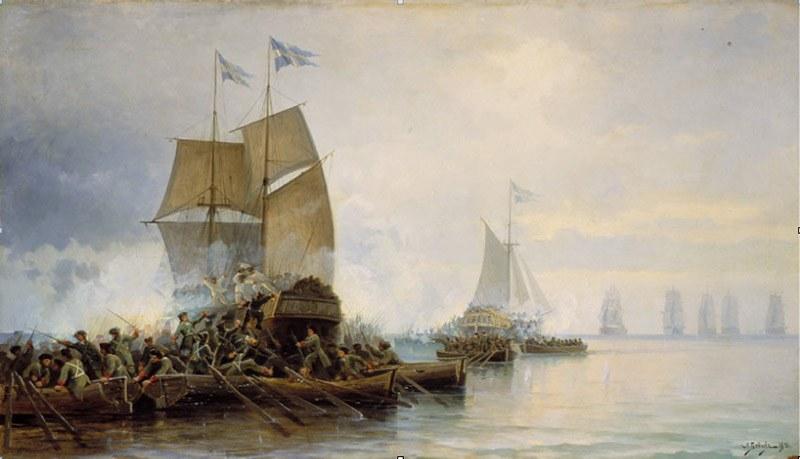 Взятие шведских кораблей в устье Невы.