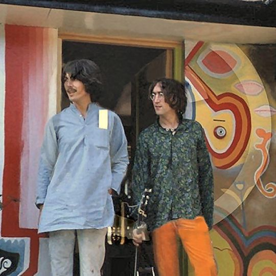 John Lennon and George Harrison together at Kinfauns in Esher..jpg