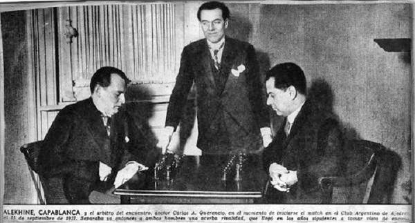 Матч Алехина и Капабланки за шахматную корону.  Источник: wikipedia.org