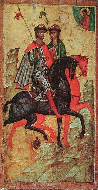 Свв. Борис и Глеб на конях сер. XIV века.jpg