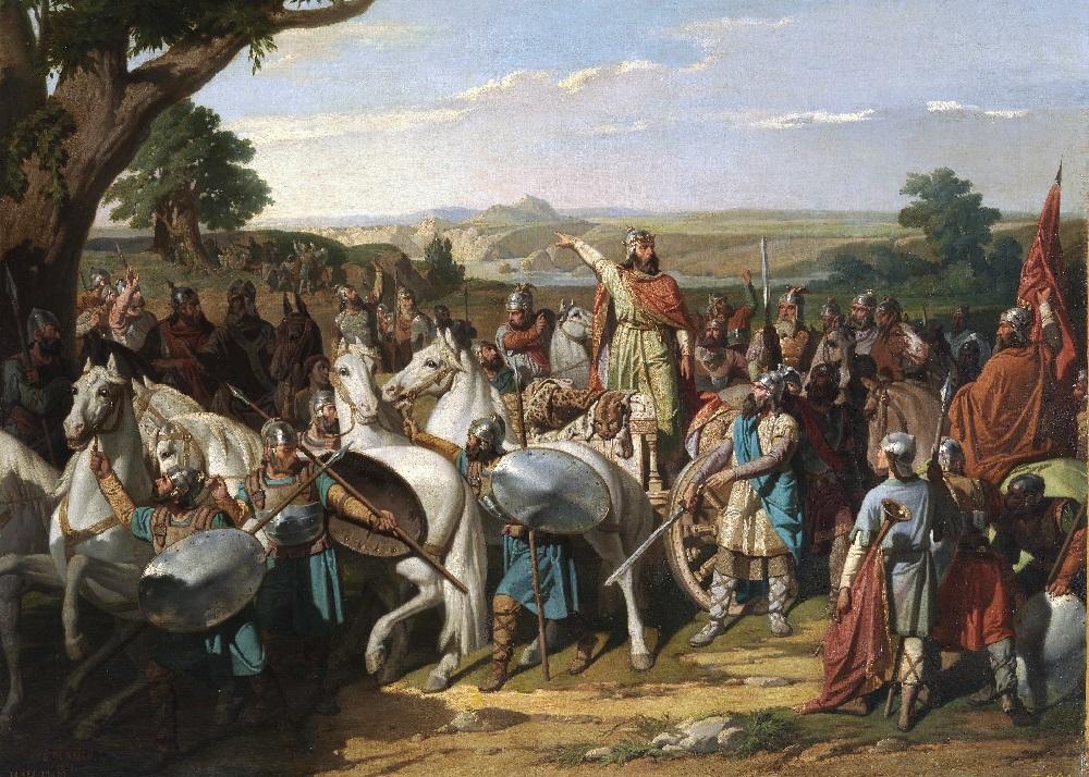 Король Родерик в битве против мусульман.