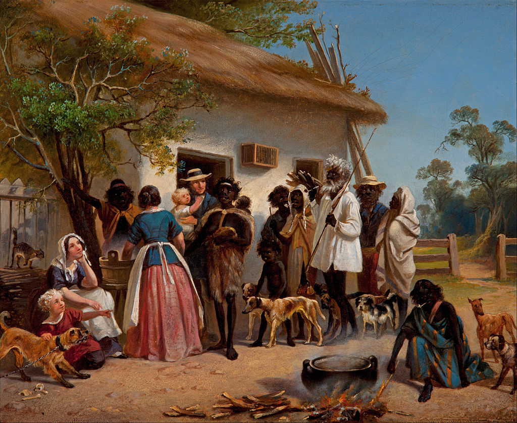 European settlers with Aborigines, South Australia, 1850.jpg