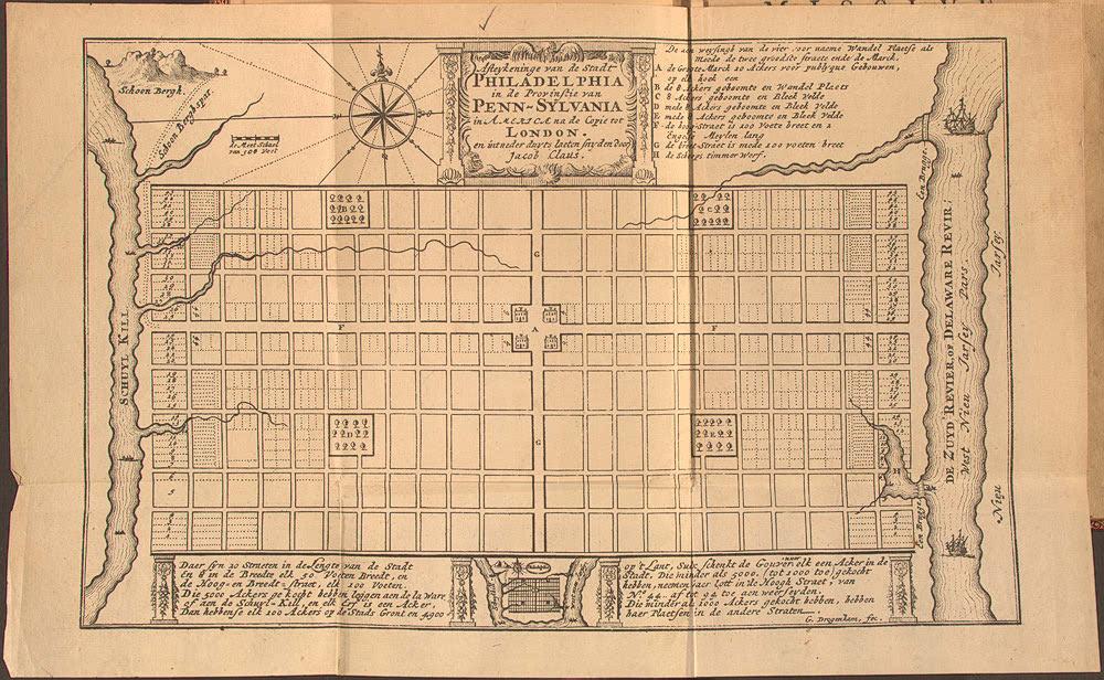 Составленный Пенном план Филадельфии, 1682.