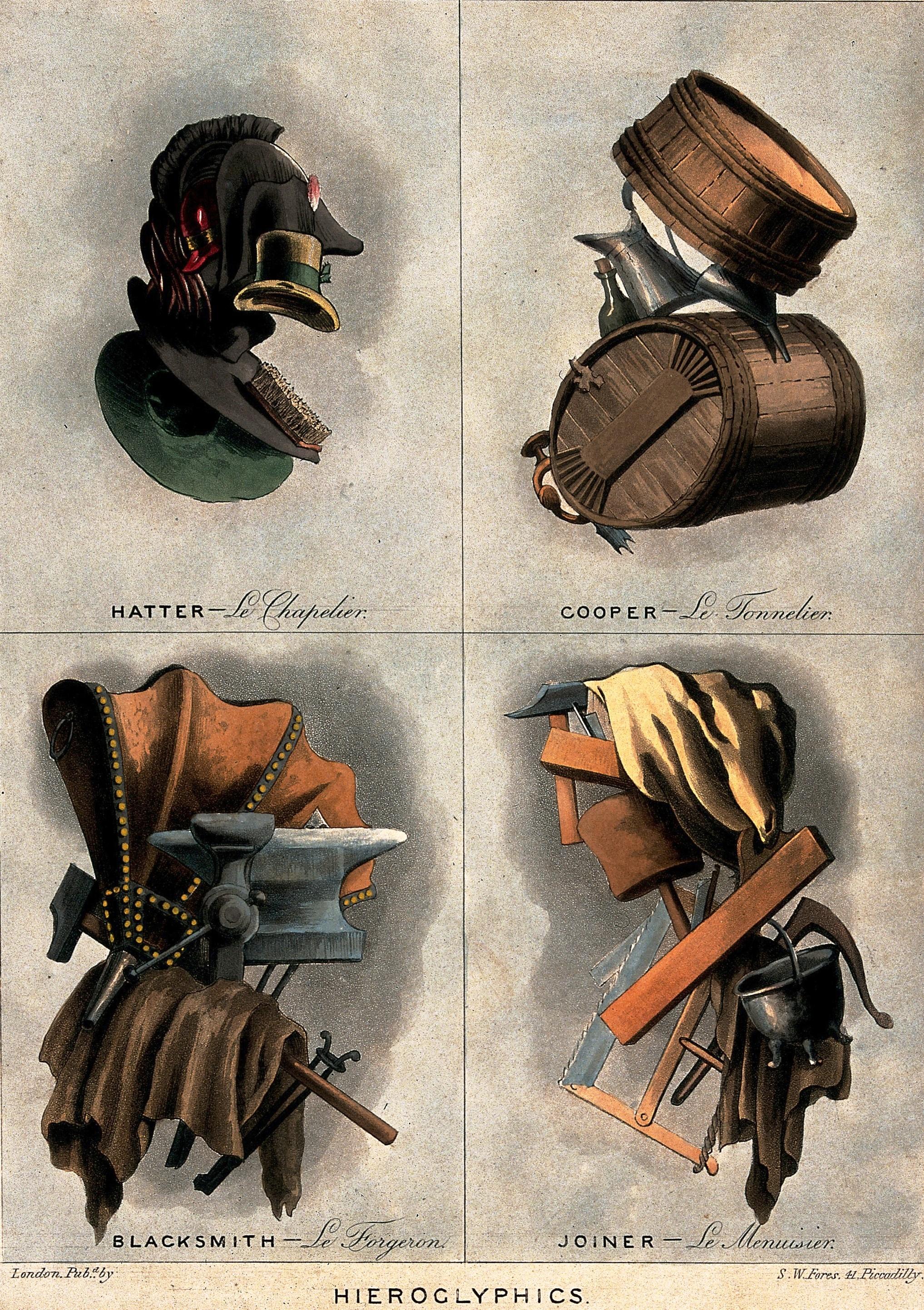 Шляпник, бондарь, кузнец, столяр, около 1800.
