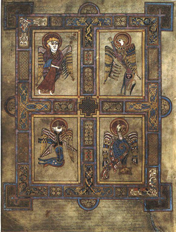 Символы четырех евангелистов в Келлской книге, IXвек.
