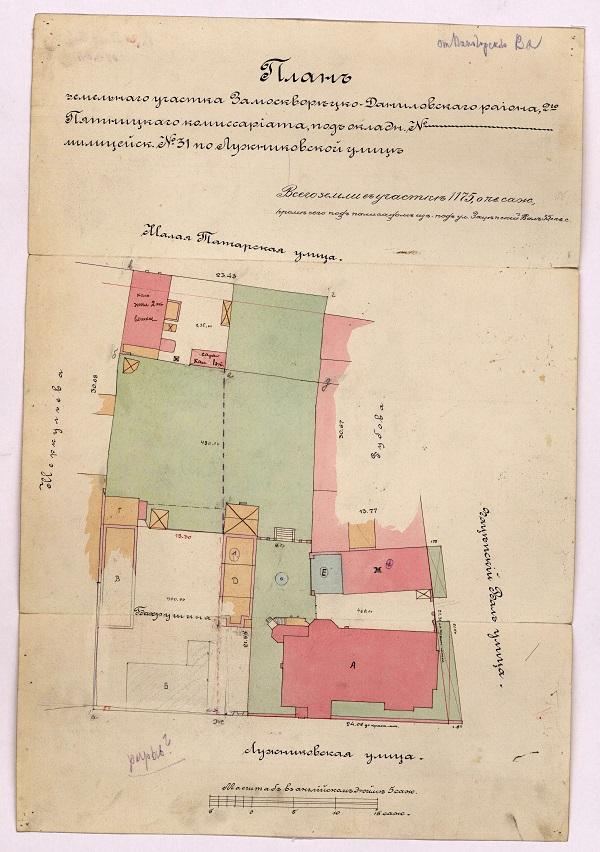 План земельного участка, который отец подарил Александру Бахрушину на свадьбу. <br>