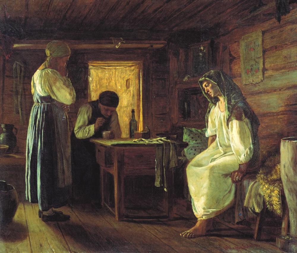 Знахарка в крестьянском доме. <br>