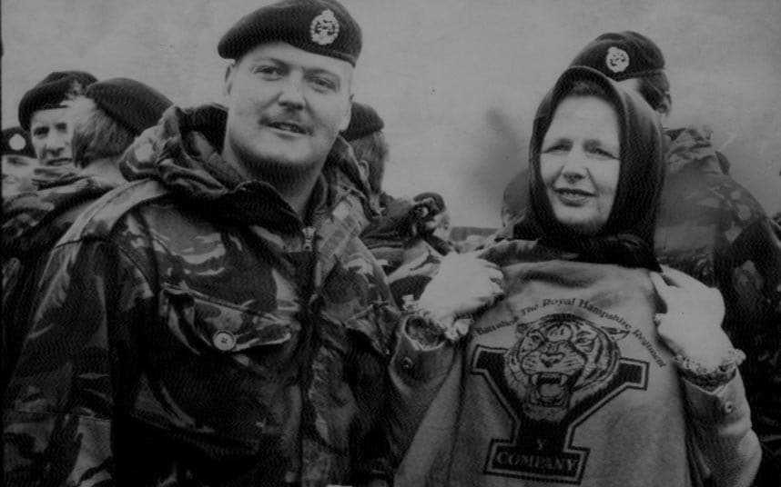 9 Margaret Thatcher displaying a t-shirt with the tiger emblem of the Royal Hampshire Regiment presented to her at Goose Green Falkland Islands.jpg