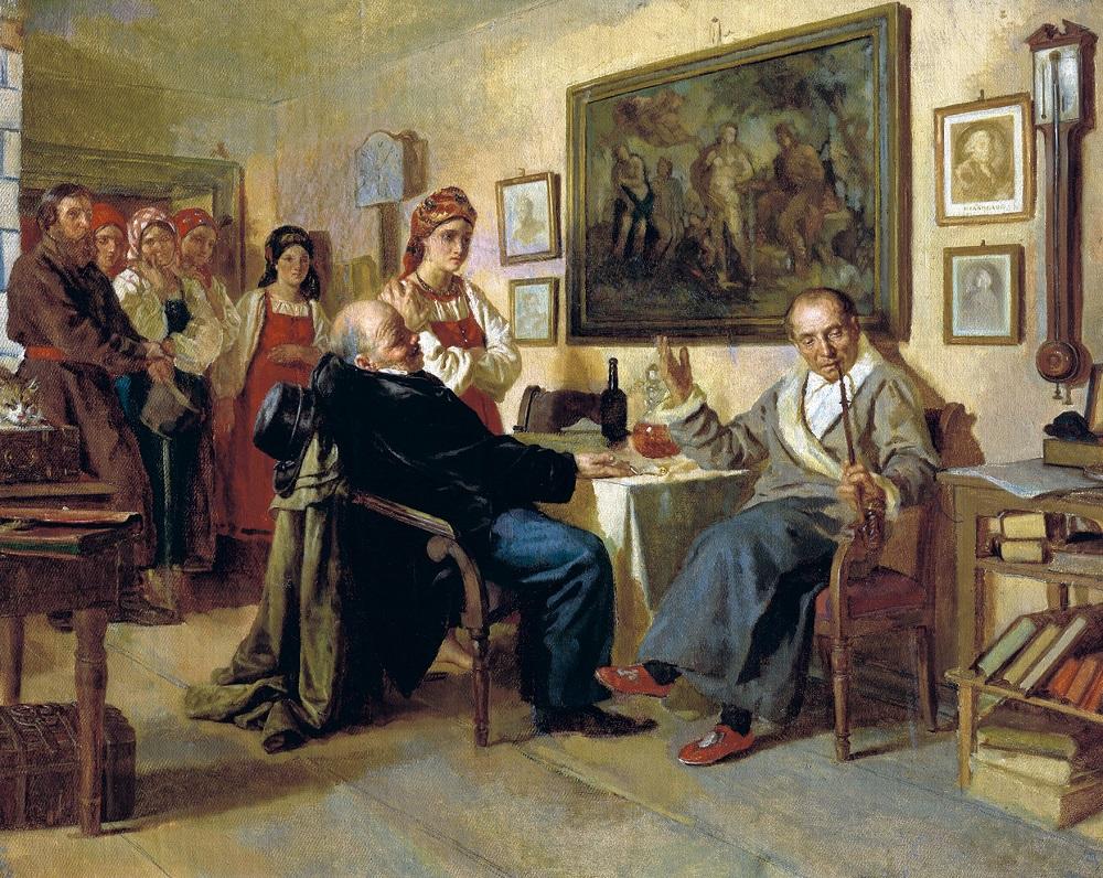 Торг. Сцена из крепостного быта. Худ. Н. В. Неврев, 1866.
