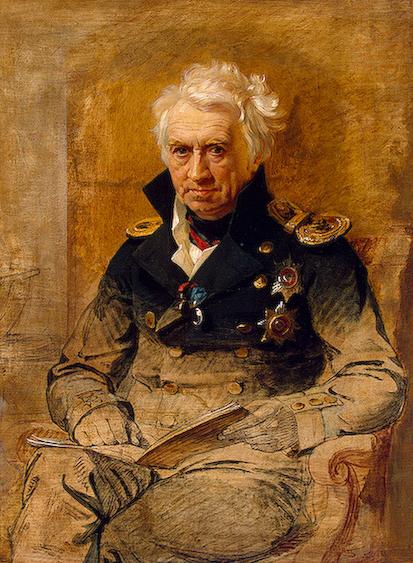 А. С. Шишков. Незаконченный портрет работы Дж. Доу. <br>