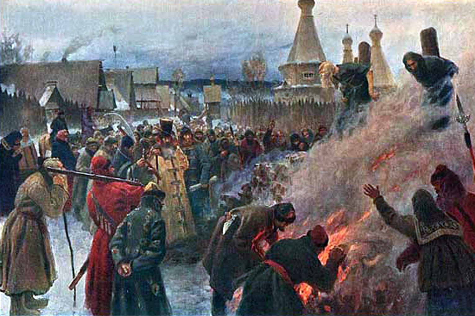 П. Мясоедов. Сожжение протопопа Аввакума. 1897. <br>