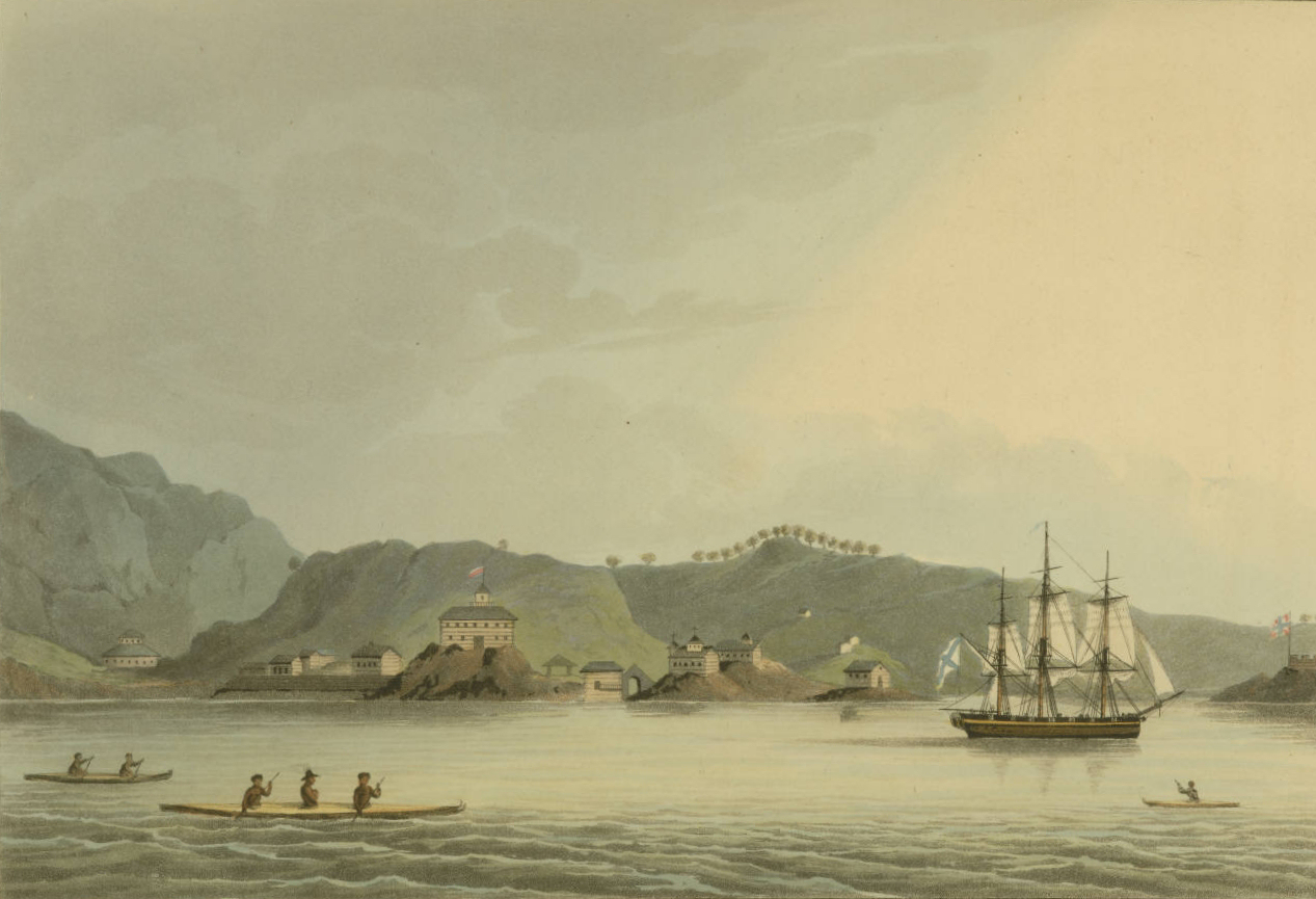 «Нева» у острова Кадьяк, гравюра по&nbsp;рисунку Ю. Лисянкого. <br>