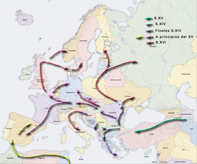 Карта миграций цыган в Европе.