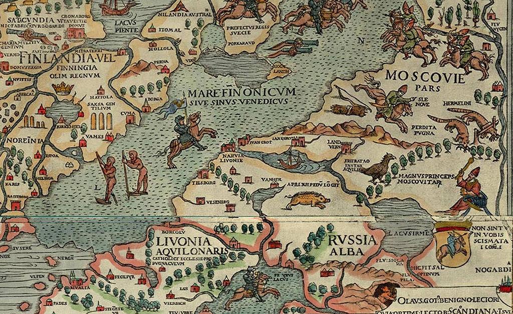 Белая Русь (Russia Alba) около озера Ильмень (Lacus Irmen). Фрагмент карты «Carta Marina», 1539.jpg