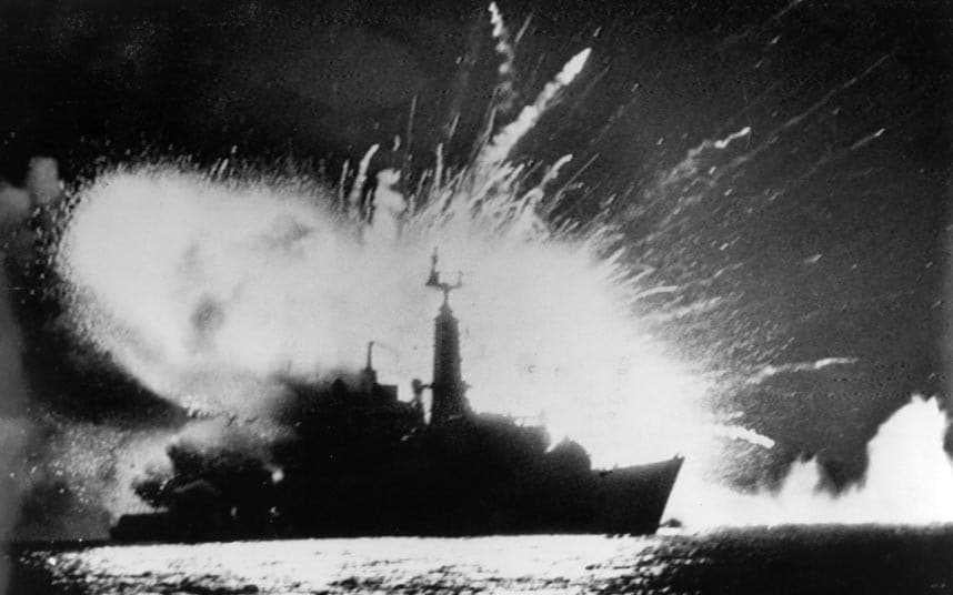 3 British Royal Navy frigate HMS Antelope explodes in the bay of San Carlos off East Falkland during the Falklands War.jpg