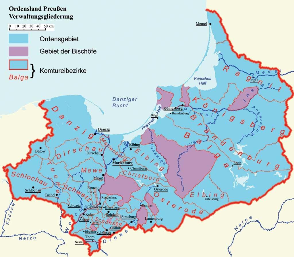 Карта ландмайстерства Пруссия.