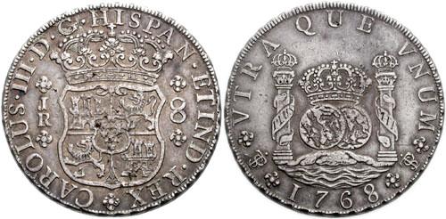 Испанский доллар 1768 года.