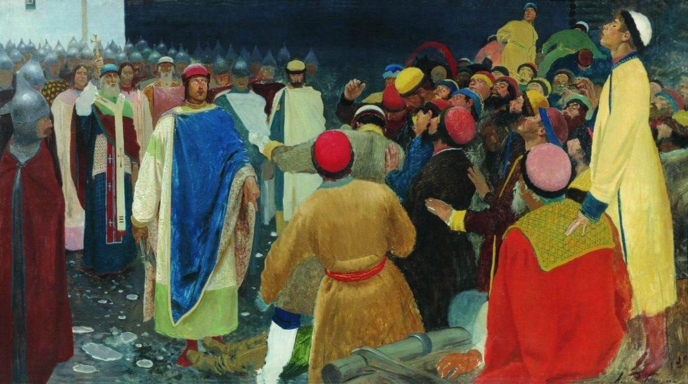 Андрей Рябушкин. Князь Глеб Святославович убивает волхва на Новгородском вече. 1898 год. <br>