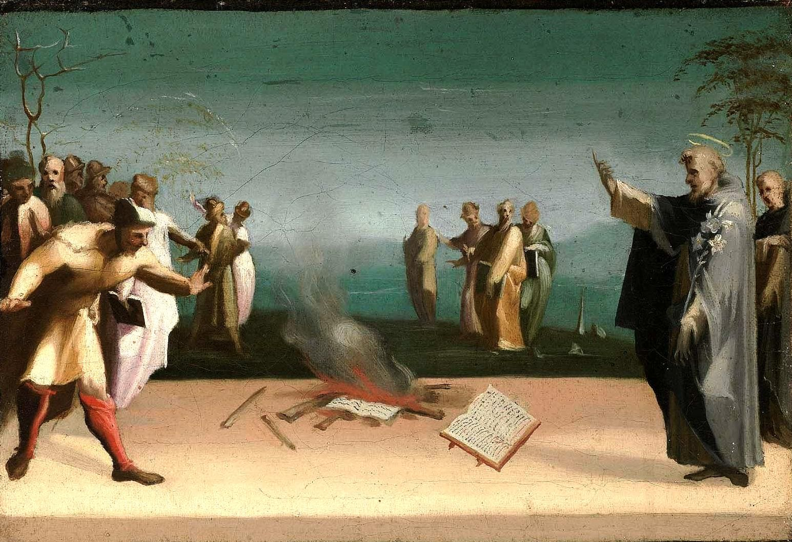 Доменико Беккафуми. Святой Доминик и сожжение еретических книг.