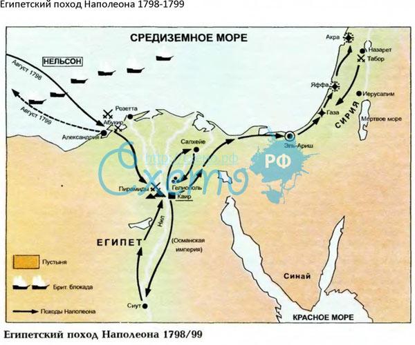 Египетский поход на карте.