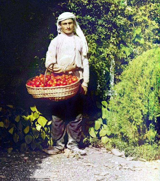 Georgian Tomato Seller 1912. People of the Russian Empire on the unique photographs of S. M. Prokudin-Gorsky. 3y Very Ethnic .jpg