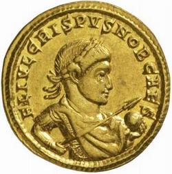Изображение Криспа на монете.